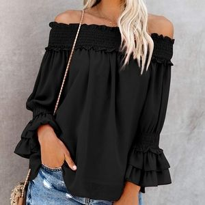 New Sexy Off Shoulders Layered Ruffled Bell Blouse